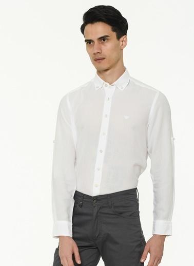 Beymen Business Slim Fit Armürlü Gömlek 4B2020200012 Beyaz